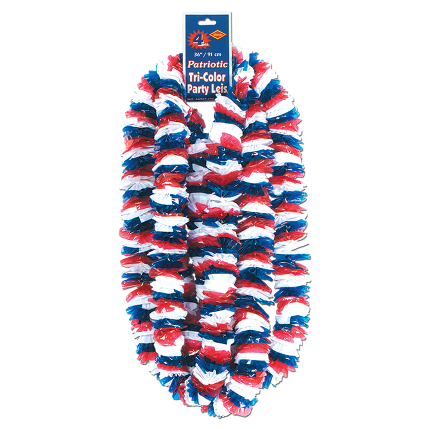 "Beistle Soft-Twist Patriotic Poly 36"" Leis, Red White & Blue, 4 Pack"