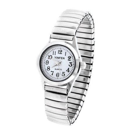 Women's Elastic Band White Rounded Dial Watch