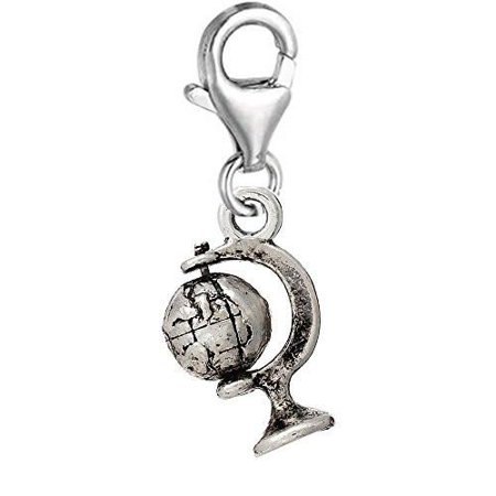 Globe Charm - Earth Globe Clip On Pendant for European Charm Jewelry w/ Lobster Clasp