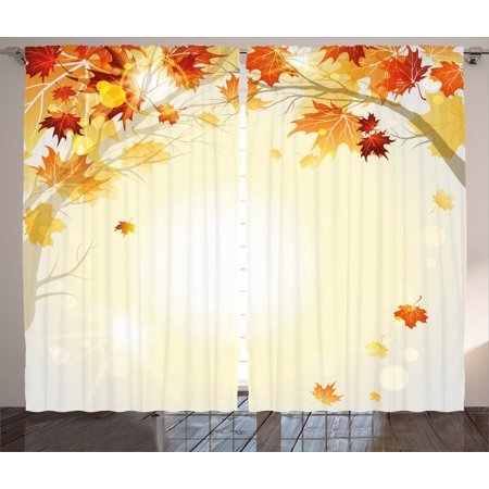 Fall Decorations Curtains 2 Panels Set, Soft Image of Faded Shedding Fall Leaves from Tree Motion in Nature Concept, Window Drapes for Living Room Bedroom, 108W X 90L Inches, Multi, by Ambesonne ()