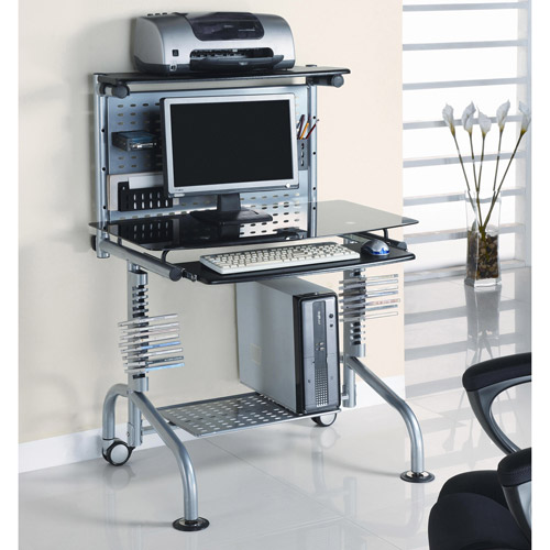 Innovex Glass Computer Workstation with Monitor and Printer Shelf, Black