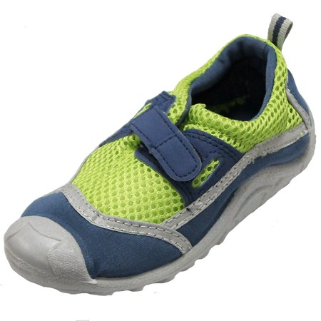 Sun Smarties Kids' Swim Shoes - Lime Green and Navy Blue - With Antimicrobial Insoles