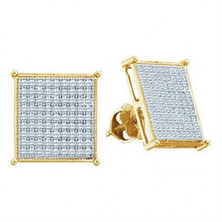 10K Yellow Gold Mens Diamond Earrings Screw Back 1/5cttw 9.5mm Wide Square Shaped