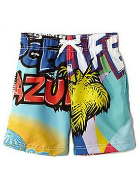 Azul Boys Blue Yellow Graffiti Inspired Print Trendy Swim Shorts