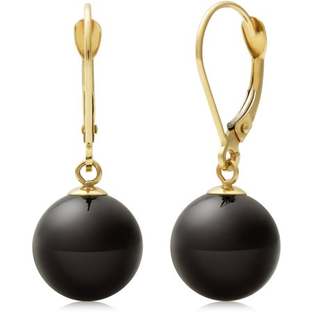 (10mm Natural Black Onyx 14K Yellow Gold Drop Dangle Earrings)
