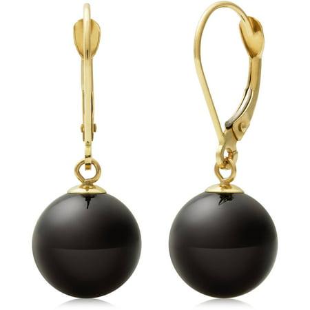 (10mm Natural Black Onyx 14K Yellow Gold Drop Dangle Earrings)