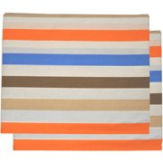 Bacati - Mod Stripes Crib/Toddler Bed Fitted Sheets 100% Cotton Percale, Blue/Orange/Choc, 2-Pack