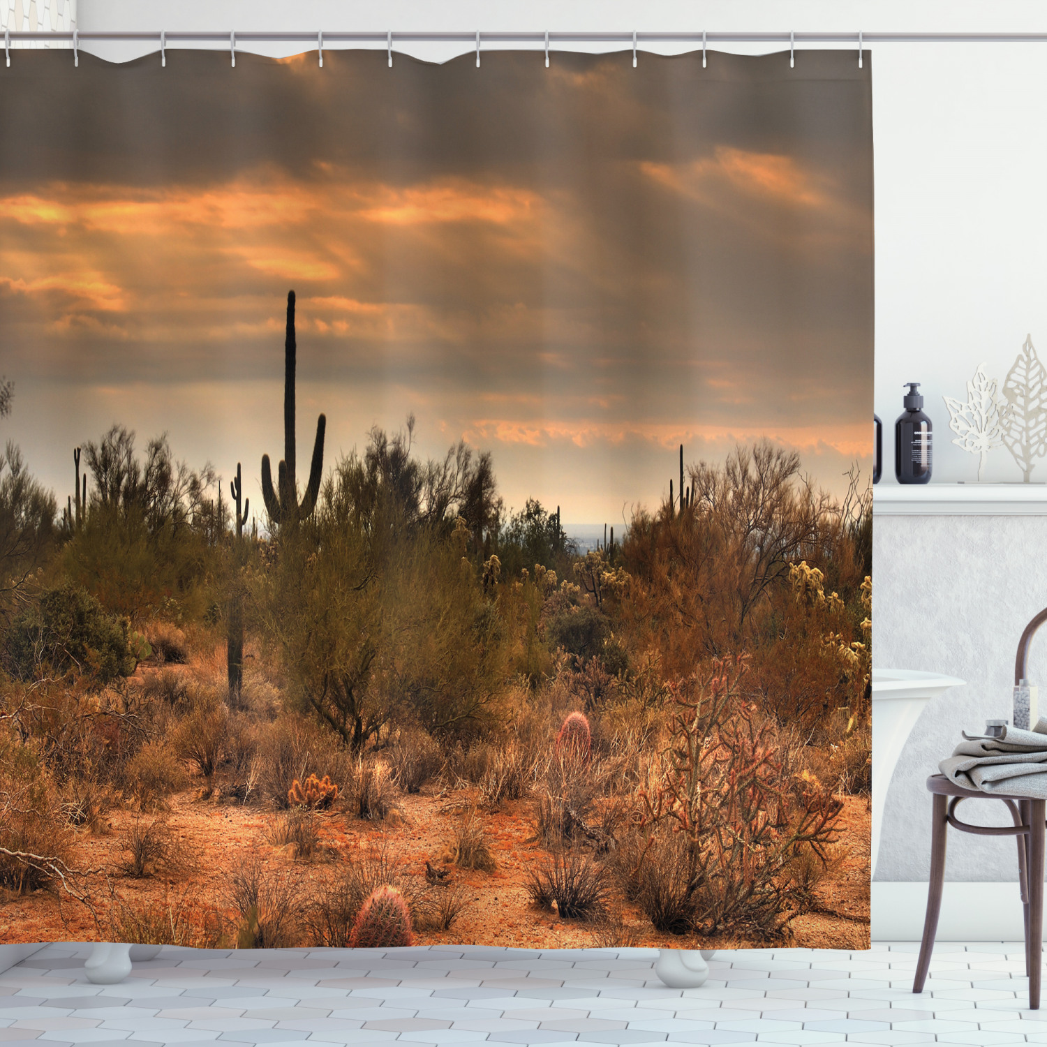 Details about  /Floral Shower Curtain Western Cactus Spikes Print for Bathroom