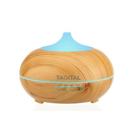 Tagital 300ml Aroma Essential Oil Diffuser, Wood Grain Ultrasonic Cool Mist Humidifier for Office Home Bedroom Living Room Study Yoga