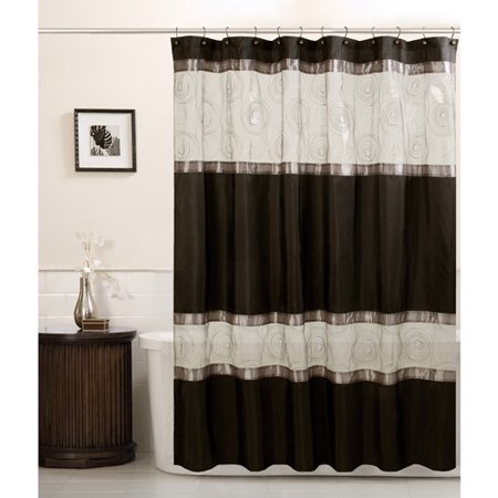 Maytex Marco Fabric Shower Curtain, Black - Walmart.com