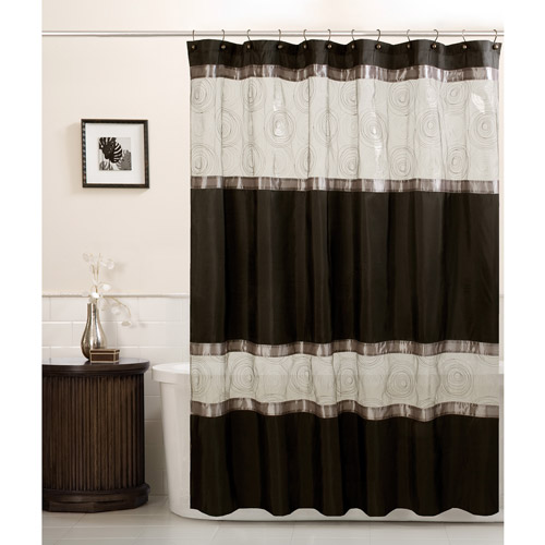 Maytex Marco Fabric Shower Curtain, Black