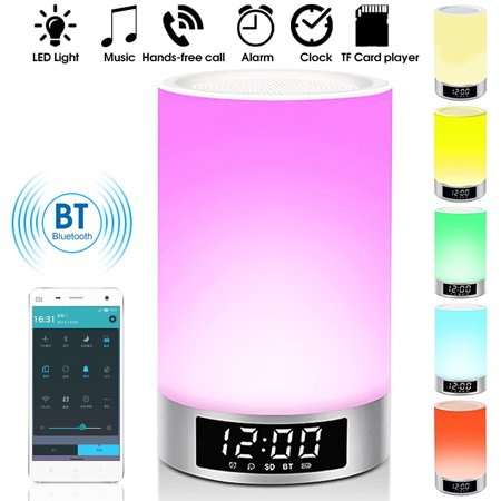 h Speaker, Romantic Lighting Wireless h Speaker Portable Dimmable with Touch LED Night Light, TF Card, Hand-free Alarm (Hands Free Indiglo Night Light)