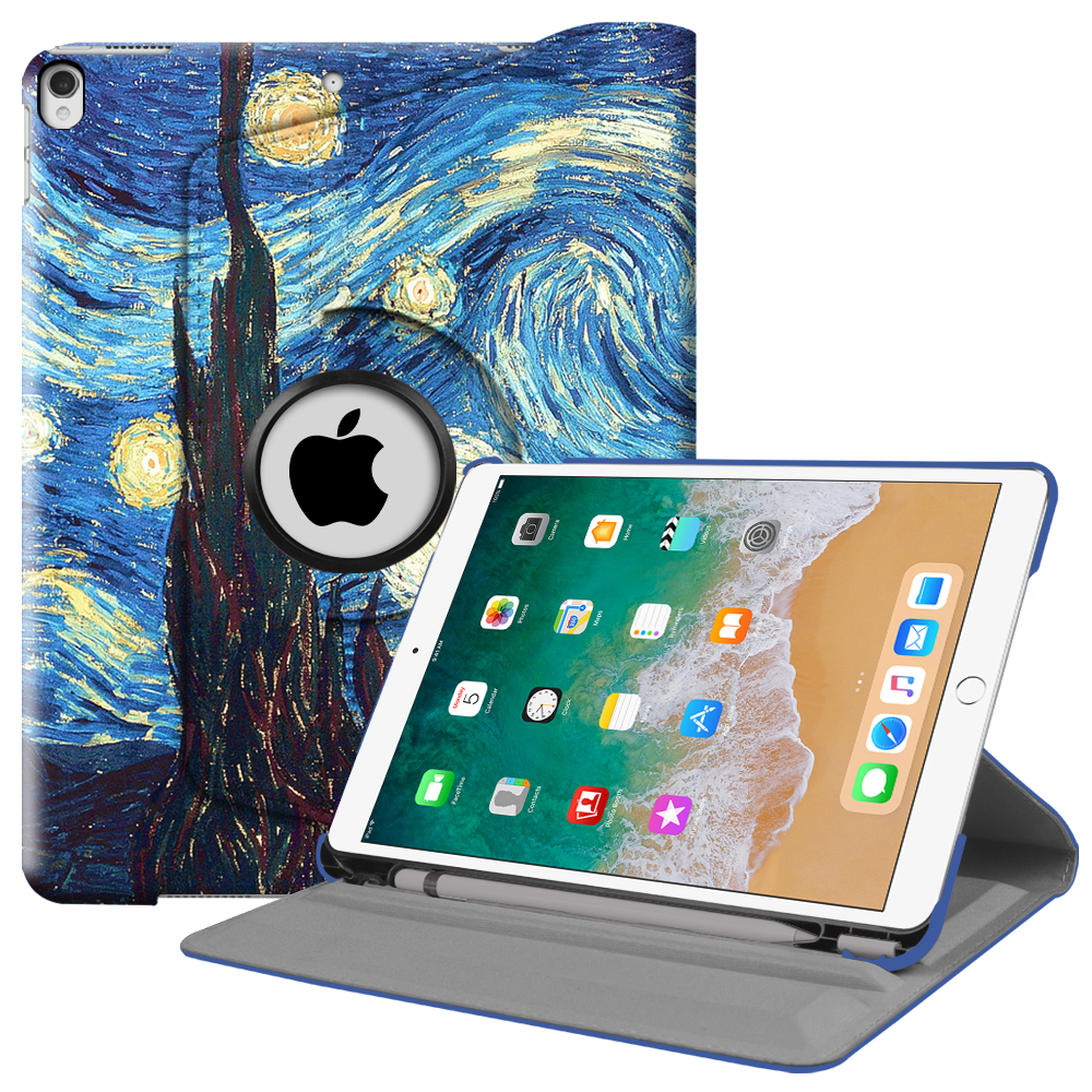 Fintie iPad Pro 10.5 Rotating Case - [Built-in Apple Pencil Holder] 360 Degree Rotating Stand Cover, Starry Night