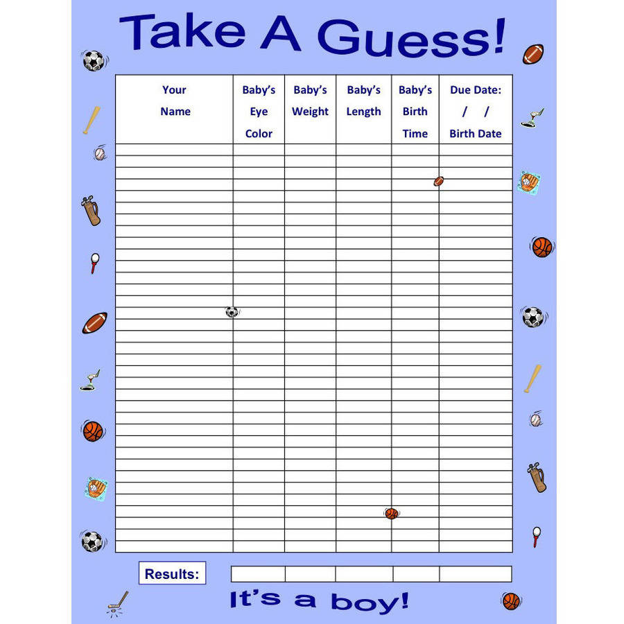 Boy Sports, Baby Guessing Game and Keepsake, Medium, 35 Players, Bundle Board