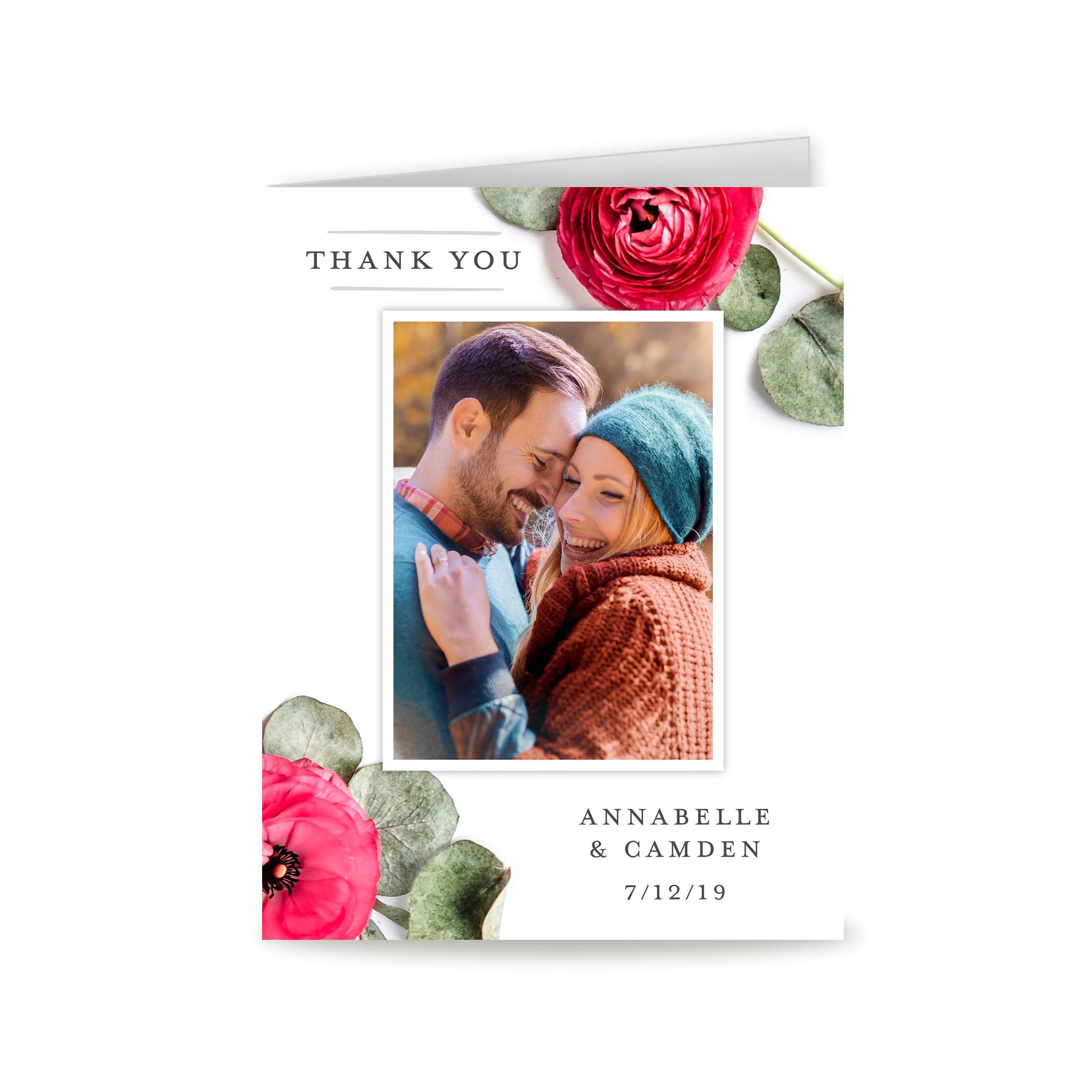 Personalized Wedding Thank You Card - Real Love - 4.25 x 5.5 Folded