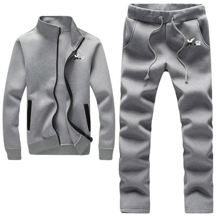 Athletic Full Zip Fleece Tracksuit Jogging Sweatsuit Activewear Gray - Fleece Jog Set