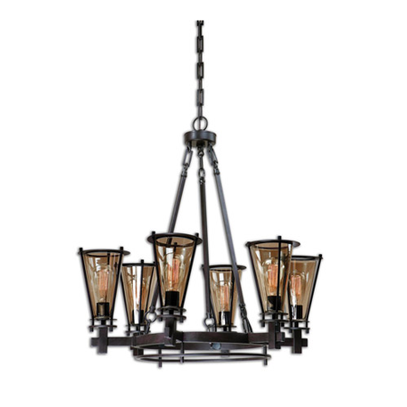 Chandeliers 6 Light With Rustic Black Metal Gl Carolyn Kinder 32 Inch 600 Watts