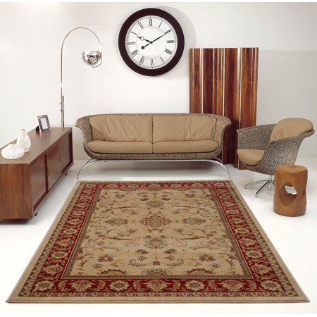 Ladole Rugs Swallowtail Medallion Traditional Style Smooth and Durable Beautiful Area Rug Carpet in Rust-Cream, 3x5 (2'7