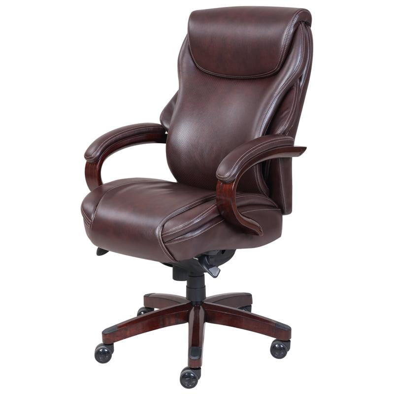 La Z Boy Hyland Executive Office Chair Chestnut Brown Bonded Leather Walmart Com Walmart Com