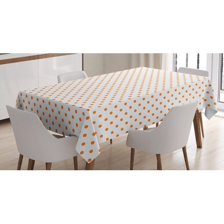 Orange Tablecloth, Little Orange Polka Dots on Blank Backdrop Spotted Tile Pattern Retro Style Print, Rectangular Table Cover for Dining Room Kitchen, 52 X 70 Inches, Orange White, by - Orange Polka Dot Tablecloth
