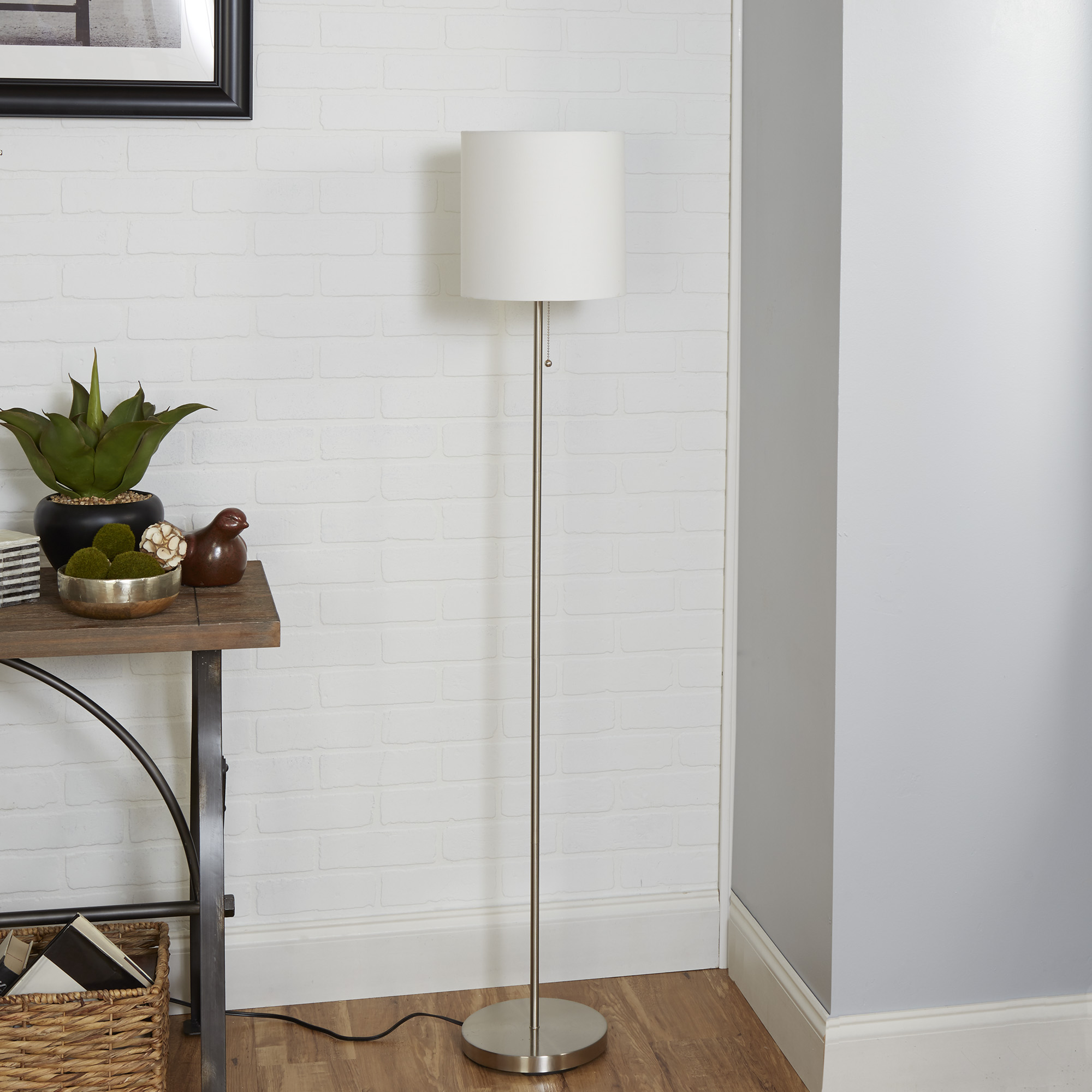 Mainstays brushed nickel stick floor lamp with white shade walmart aloadofball Image collections