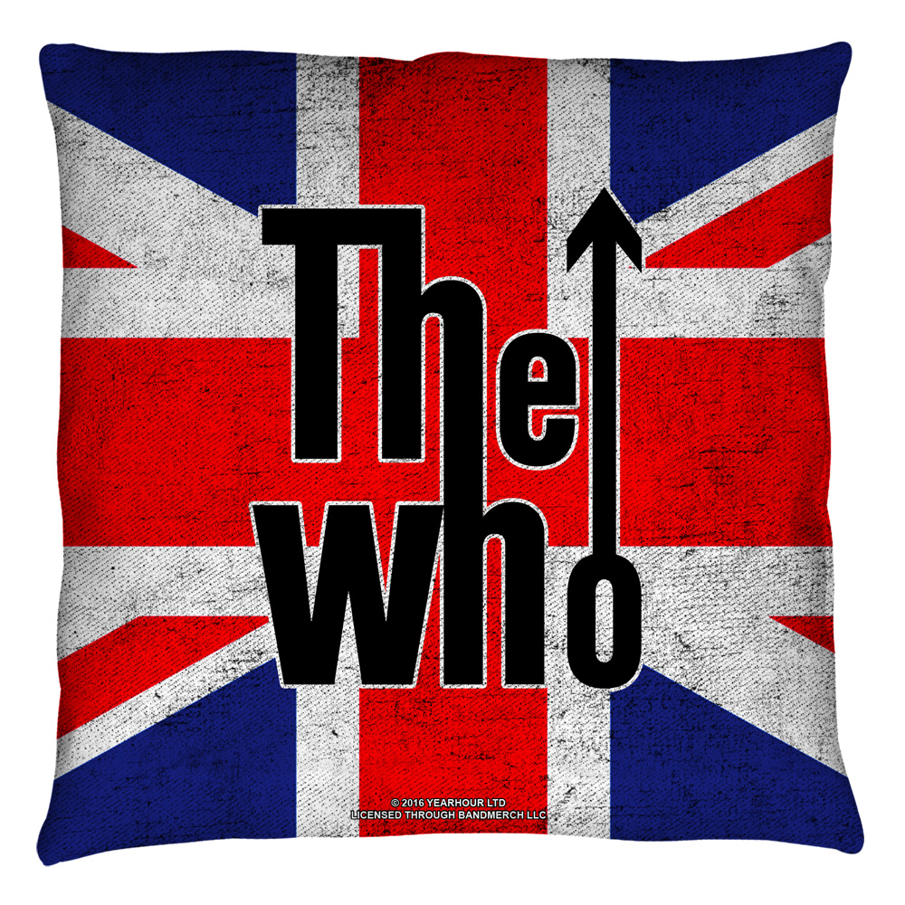 The Who Who Flag Throw Pillow White 16X16