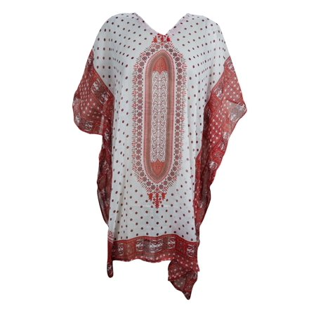 Mogul Boho Chic Lightweight Short Caftan Dress Red White Dashiki Print Kimono Sleeves Beach Cover Up Resort Wear ONE SIZE