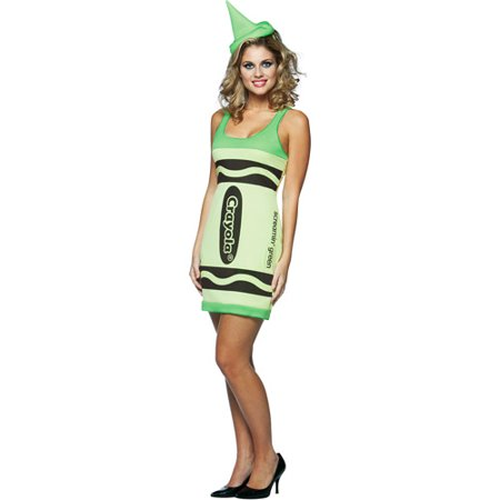 Crayola Screaming Green Tank Dress Adult Halloween Costume - One - Halloween Screams Sounds