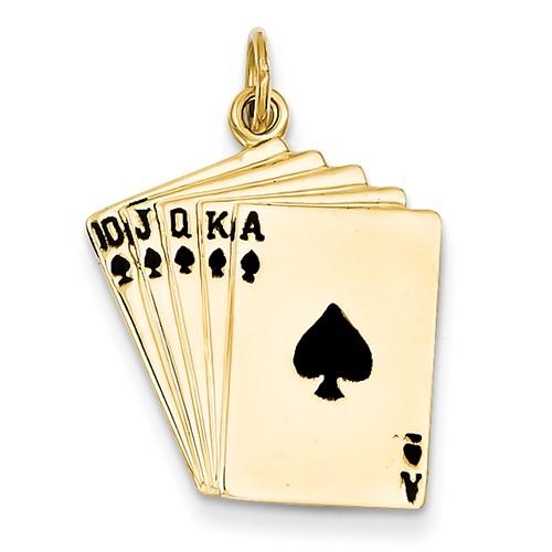 14k Yellow Gold Enameled Royal Flush Playing Cards Pendant
