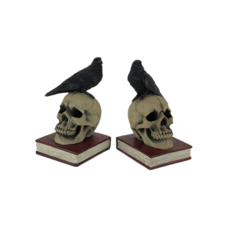 Evil Omen Raven On Skull Perch Decorative Bookend