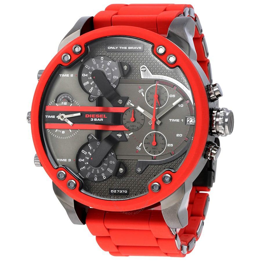 Men's Mr. Daddy 2.0 DZ7370 Red Silicone Japanese Quartz Fashion Watch