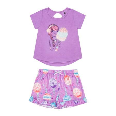 Girls' Cotton Candy 2 Piece Pajama Short Set (Little Girl & Big Girl) 2 Piece Winter Pajamas