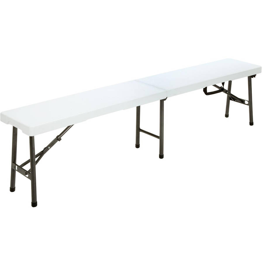 Cosco 6' Blow Mold Centerfold Bench, White