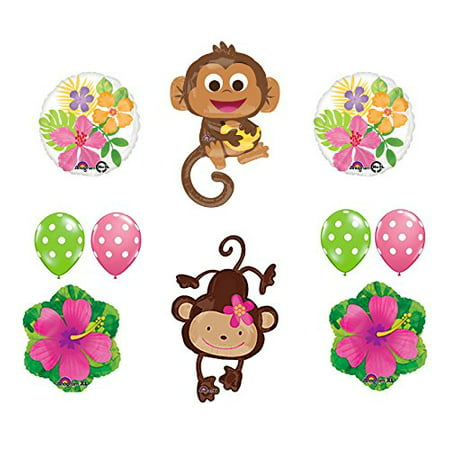 Mod Monkey Party Supplies Birthday or Gender Reveal Monkey Love Balloon Bouquet Decorations (Monkey Party Supplies)