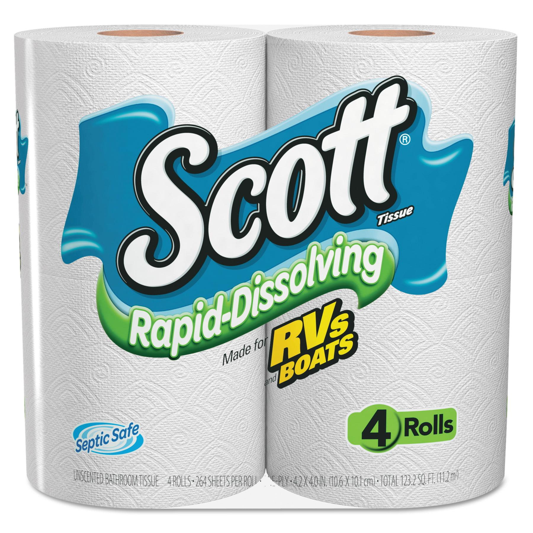 Scott Toilet Paper, Rapid Dissolve, 4 Rolls