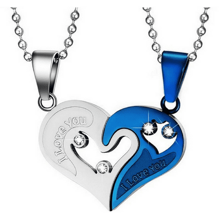 - Stainless Steel Heart Shaped Crystal Necklace Chain Couples Romance Jewelry Gift (Blue)