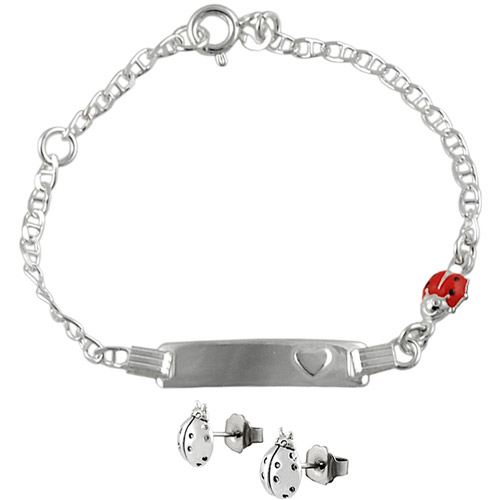 Brinley Co. Sterling Silver Lady Bug ID Bracelet and Earrings Set