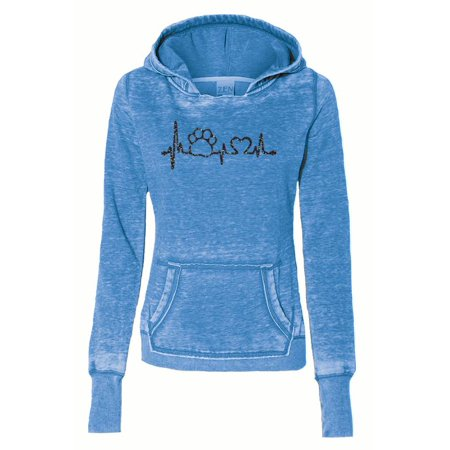 - Paw Print Heartbeat Pet Rescue Ladies Fleece Pullover Hoody