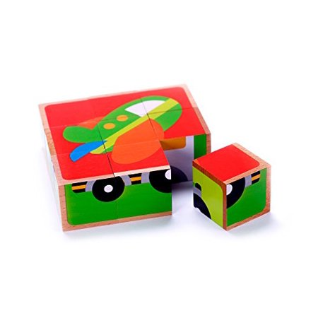 Wood Cars & Trucks Vehicle Cube Block Puzzle 5 Puzzles in One Kids Educational Toy 2 Year Olds & Up](Puzzles For 4 Year Olds)