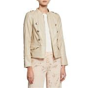 Calvin Klein Womens Faux Leather Military Jacket, beige, Medium