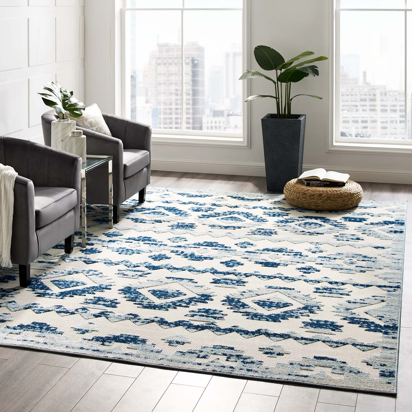 Reflect Takara Distressed Contemporary Abstract Diamond