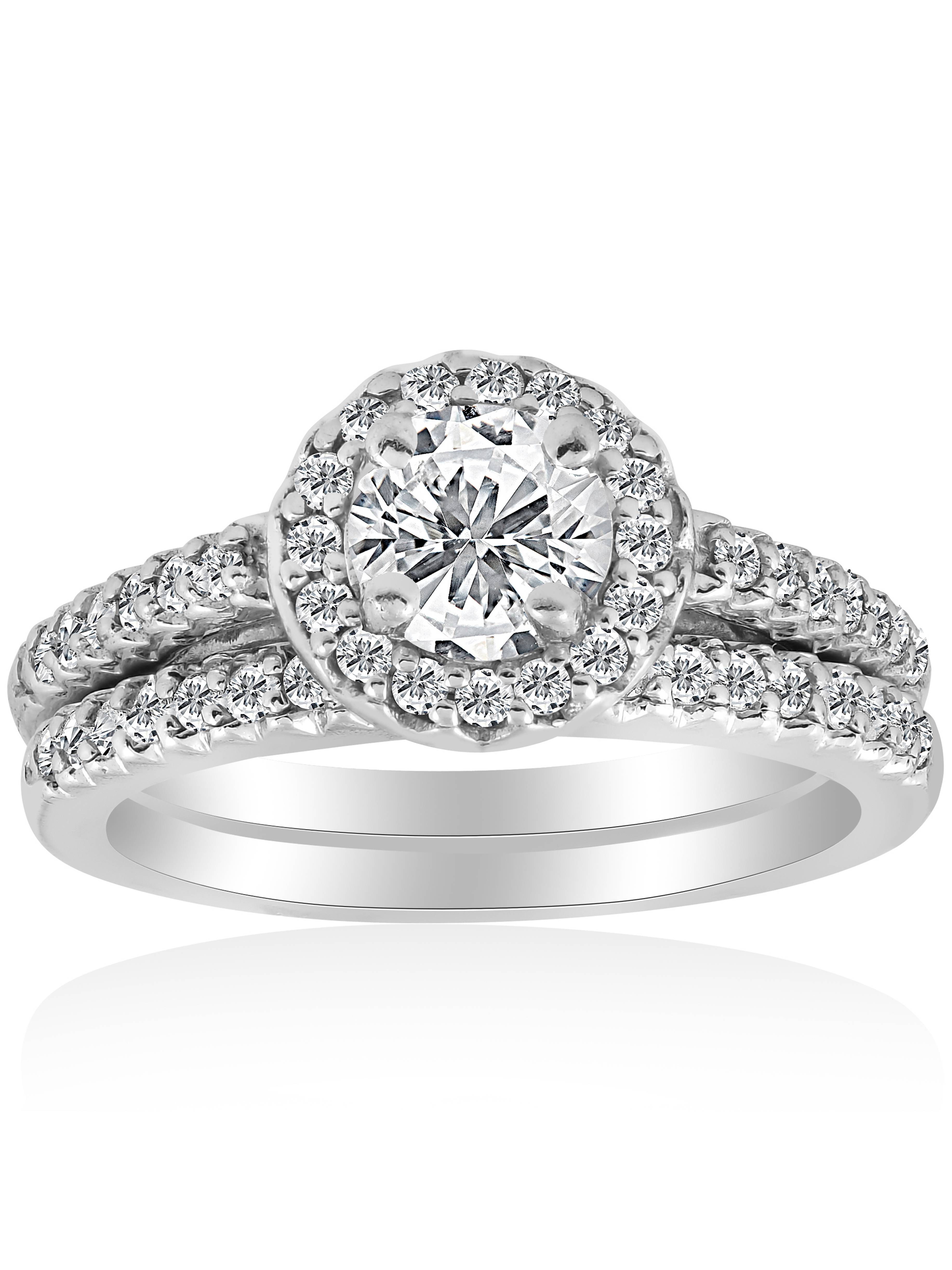 1ct Halo Diamond Engagement Ring Matching Wedding Band White Gold Solitaire