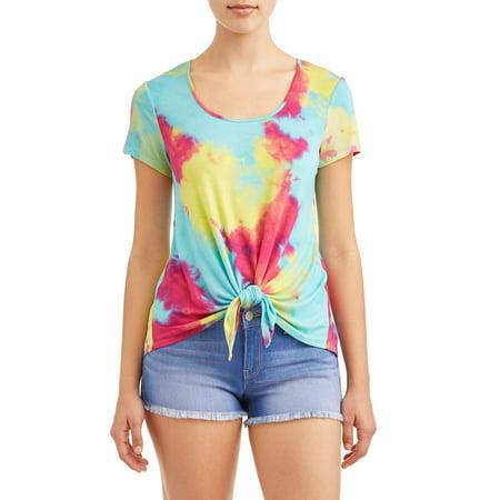 Juniors' Tie Dye Tie Front Short Sleeve Crew Neck T-Shirt - Rainbow Tube Top