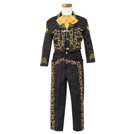 Little Boys Black Gold Embroidered Mariachi Pants Jacket Hat - Mariachi Outfits