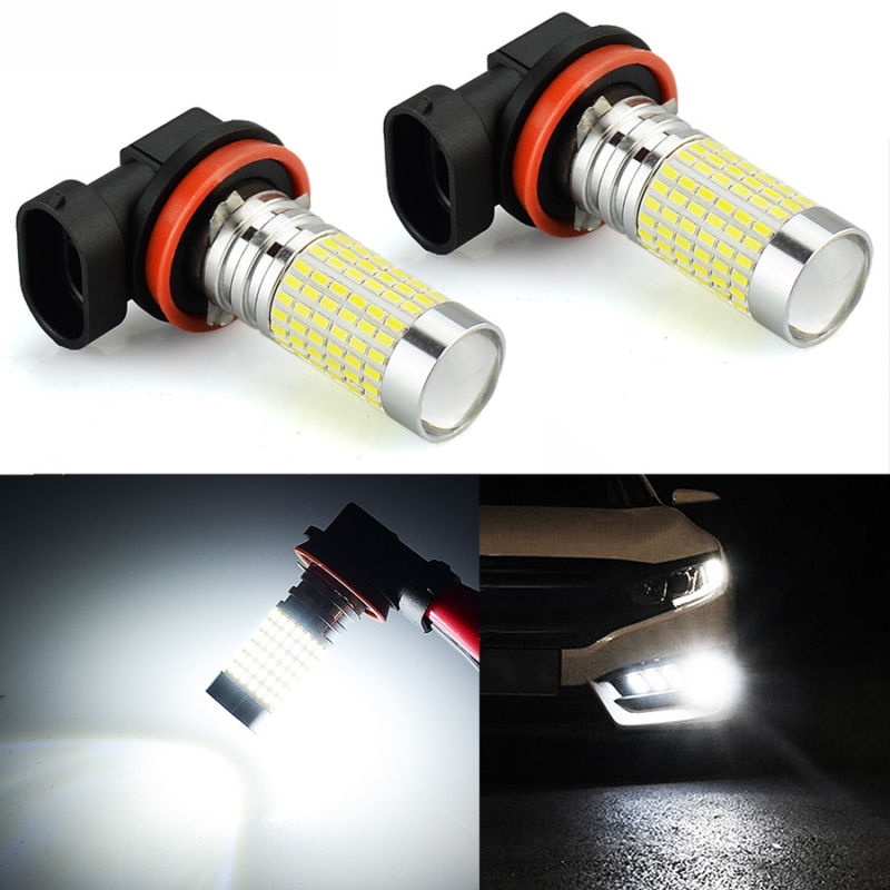 JDM ASTAR 2x H11 H8 6000K White 144 SMD LED Fog DRL Running Lights Bulbs Bright