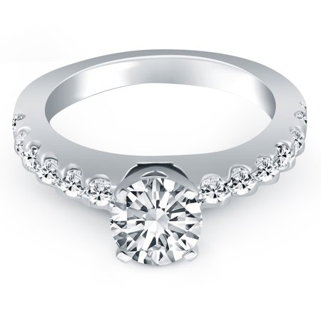 14k White Gold Diamond Micro Prong Cathedral Engagement Ring - image 2 of 2