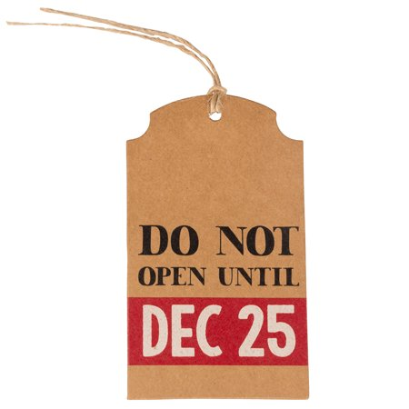 JAM Holiday Gift Tags, Christmas Do Not Open, 16/Pack, Medium, 4 1/4 x 2 3/8 ()