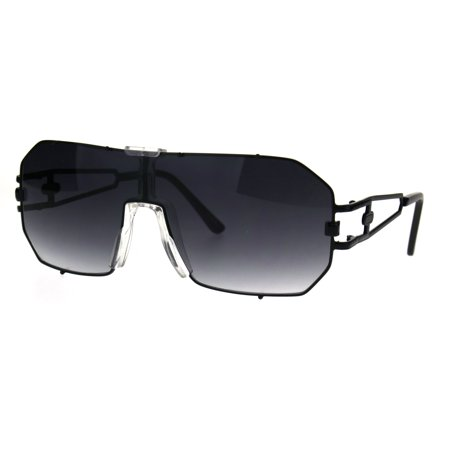 Mens Metal Rim Mob Shield Aviator Racer Sunglasses Black (Aviator Sunglasses Side Shields)
