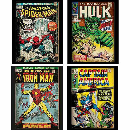 Marvel Hulk, Spider Man, Ironman Wall Art, Set Of 4