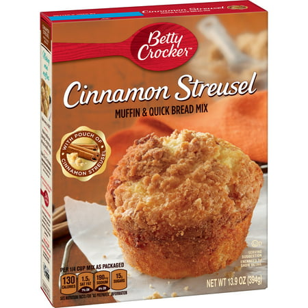 (4 Pack) Betty Crocker Cinnamon Streusel Muffin and Quick Bread Mix, 13.9 - Halloween Speedy Mix